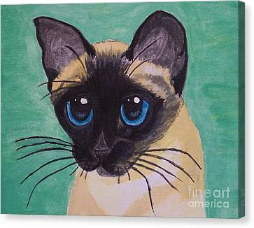 Canvas Print featuring the painting Siamese by Leslie Allen