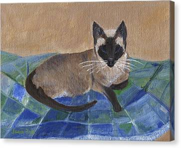 Canvas Print featuring the painting Siamese Nap by Jamie Frier