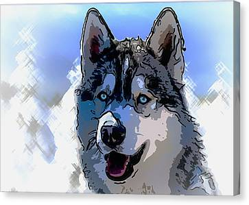 Siberian Husky Canvas Print by Alexey Bazhan