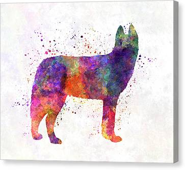 Siberian Husky 01 In Watercolor Canvas Print by Pablo Romero