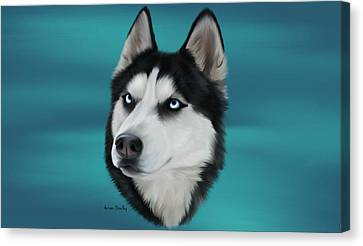 Siberian Husky Canvas Print by Autumn Bradley