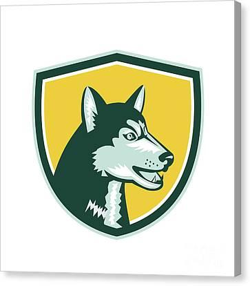 Siberian Husky Dog Head Crest Retro Canvas Print
