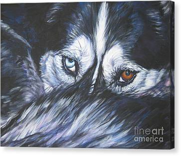 Husky Canvas Print - Siberian Husky Eyes by Lee Ann Shepard