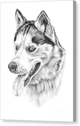 Siberian Husky Canvas Print by Pencil Paws
