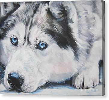 Siberian Husky Up Close Canvas Print by Lee Ann Shepard