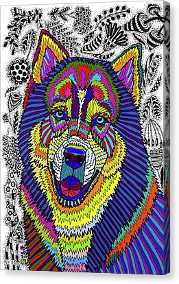 Siberian Husky Canvas Print by ZileArt