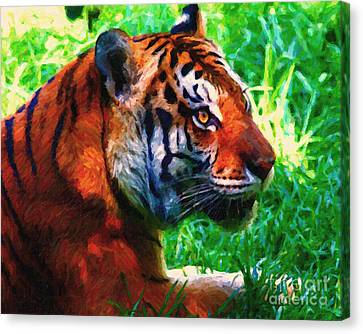 Siberian Tiger . Photoart Canvas Print by Wingsdomain Art and Photography