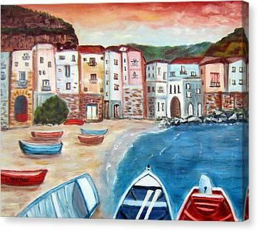 Sicilian Fishing Village Canvas Print by Lia  Marsman