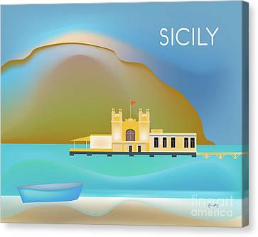 Sicily Italy Horizontal Scene Canvas Print by Karen Young