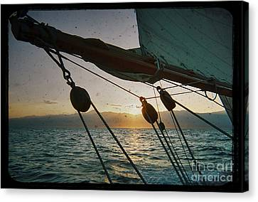 Sicily Canvas Print - Sicily Sunset Sailing Solwaymaid by Dustin K Ryan