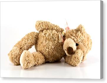 Sick Teddy Bear Canvas Print by Blink Images