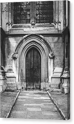 Out Of The Woods Canvas Print - Side Door Bw by Christi Kraft