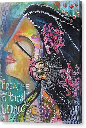 Canvas Print featuring the painting Side Face With Words by Prerna Poojara