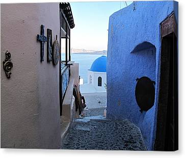 Side Street Santorini Canvas Print