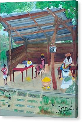 Canvas Print featuring the painting Sideroad Merchant 1 by Nicole Jean-Louis