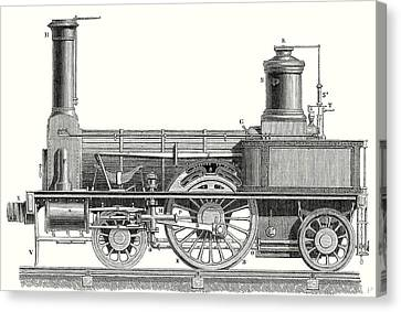 Sideview Of An Old Fashioned Locomotive Showing The Mechanism Of The Engine Canvas Print