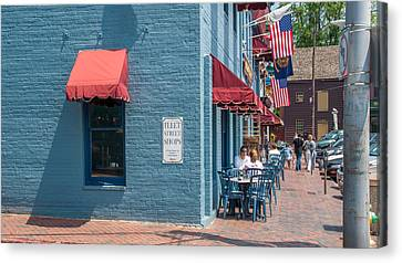 Canvas Print featuring the photograph Sidewalk Cafe Annapolis by Charles Kraus