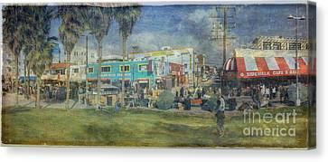 Canvas Print featuring the photograph Sidewalk Cafe Venice Ca Panorama  by David Zanzinger
