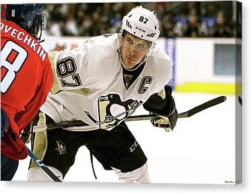 Sidney Crosby, Pittsburg Penguins, The Captain, Number 87, Face Off, Alex Ovechkin Canvas Print