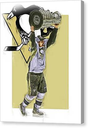 Sidney Crosby Pittsburgh Penguins Oil Art 2 Canvas Print by Joe Hamilton