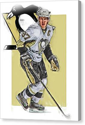Sidney Crosby Pittsburgh Penguins Oil Art Canvas Print by Joe Hamilton