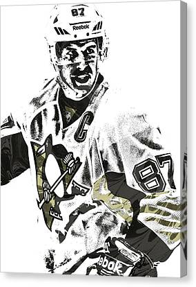Sidney Crosby Pittsburgh Penguins Pixel Art 4 Canvas Print by Joe Hamilton