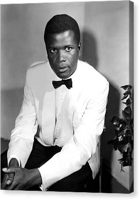 1950s Portraits Canvas Print - Sidney Poitier, On The Set For The Film by Everett