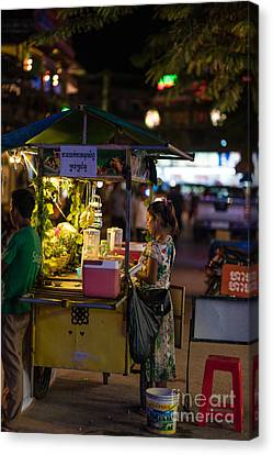 Siem Reap Fruit Stand Canvas Print by Mike Reid