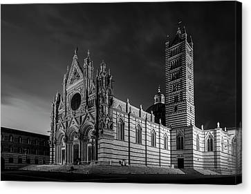 Siena Italy Cathedral Bw Canvas Print by Joan Carroll