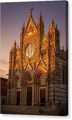 Siena Italy Cathedral Sunset Canvas Print by Joan Carroll