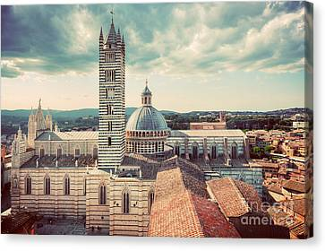 Siena, Italy Panorama City View. Siena Cathedral, Duomo Di Siena. Vintage Canvas Print