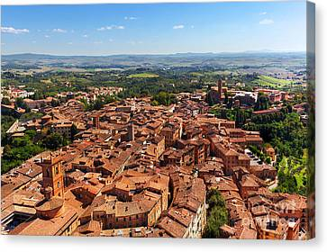 Siena, Italy Panoramic Rooftop City View Canvas Print by Michal Bednarek