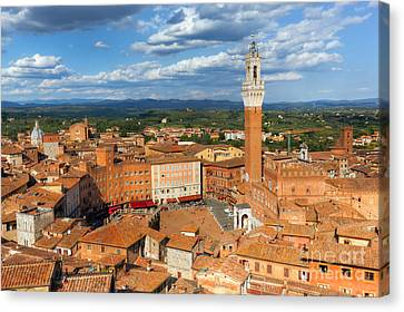 Siena, Italy Rooftop City Panorama. Mangia Tower, Italian Torre Del Mangia Canvas Print