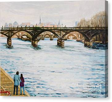 Siene In Early December Canvas Print by Hilary England