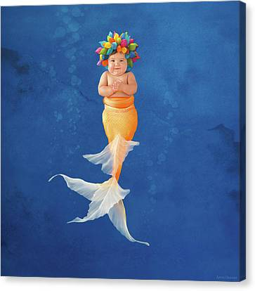 Sienna As A Mermaid Canvas Print by Anne Geddes