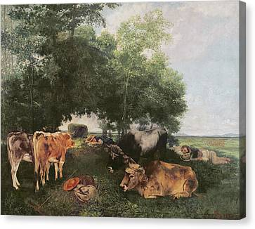 Siesta At Haymaking Time Canvas Print by Gustave Courbet