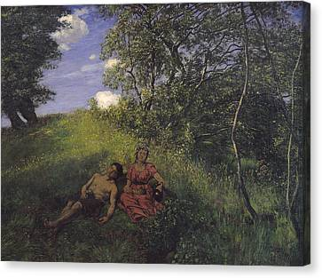 Siesta Canvas Print by Hans Thoma