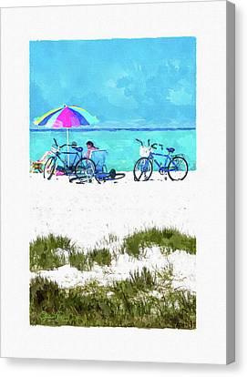 Siesta Key Beach Bikes Canvas Print by Susan Molnar