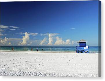 Canvas Print featuring the photograph Siesta Key Life Guard Shack by Gary Wonning