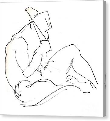 Canvas Print featuring the drawing Siesta - Male Nude by Carolyn Weltman