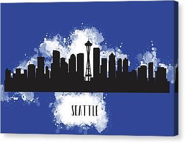 Seattle Skyline Canvas Print - Seattle Skyline Silhouette by Anna Maloverjan