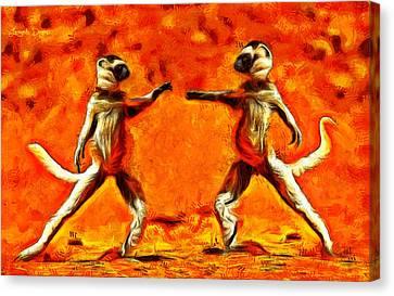 Sifaka Dancers - Da Canvas Print by Leonardo Digenio