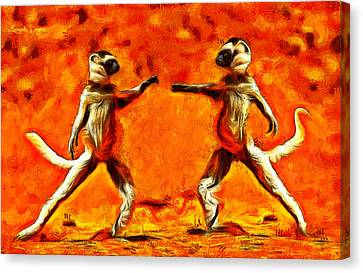 Primate Canvas Print - Sifaka Dancers - Pa by Leonardo Digenio