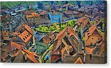 Sighisoara From Above Canvas Print by Jeff Kolker