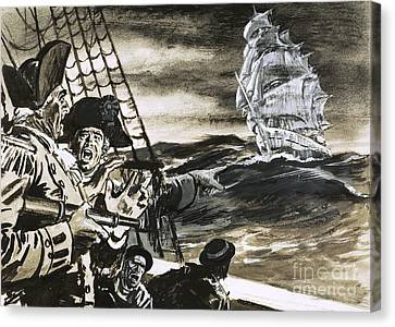 Sighting Of A Ghost Ship Canvas Print by Ralph Bruce