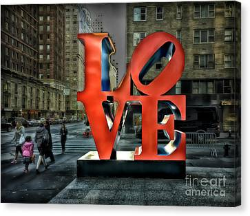 Canvas Print featuring the photograph Sights In New York City - Love Statue by Walt Foegelle