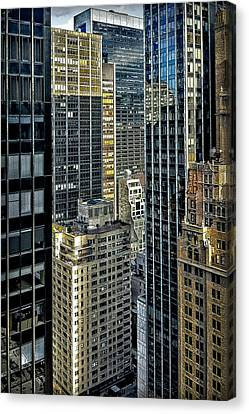 Canvas Print featuring the photograph Sights In New York City - Skyscrapers Shot From Skyscraper by Walt Foegelle