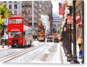 Sightseeing Along Powell Street In San Francisco California . 7d7269 Canvas Print by Wingsdomain Art and Photography