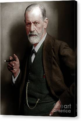 Celebrity Portrait Canvas Print - Sigmund Freud Colorized 20170520 by Wingsdomain Art and Photography