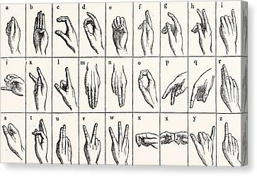 Grid Canvas Print - Sign Language Alphabet by Unknown